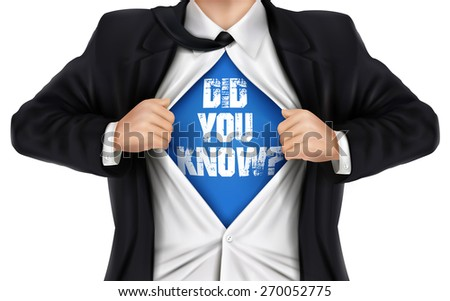businessman showing Did you know words underneath his shirt over white background - stock photo