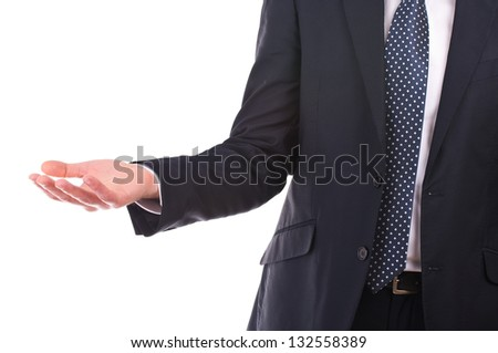 Businessman showing empty hand. - stock photo