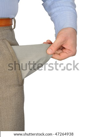 Businessman showing empty pocket, isolated on white