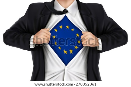 businessman showing Europe flag underneath his shirt over white background - stock photo