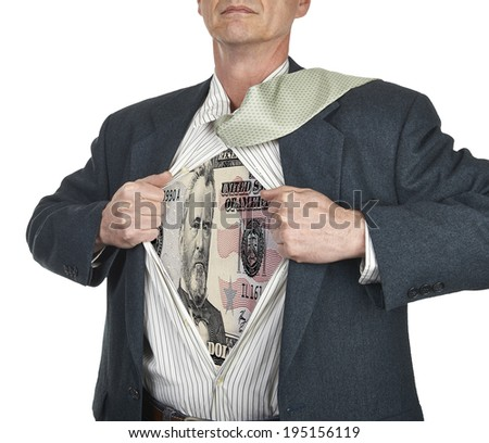 Businessman showing fifty dollar bill superhero suit underneath his shirt standing against white background - stock photo