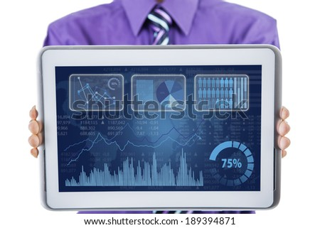 Businessman showing financial report on digital tablet - stock photo