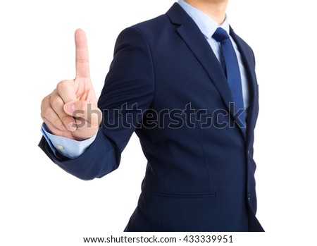 Businessman showing finger up