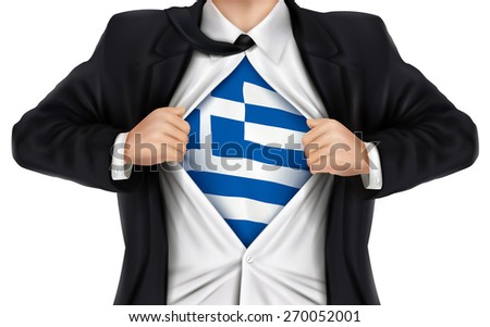businessman showing Greece flag underneath his shirt over white background - stock photo