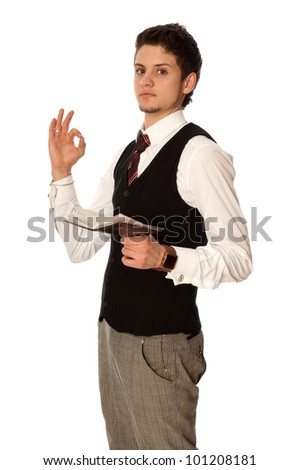 businessman showing his daily plan of action is finished - stock photo
