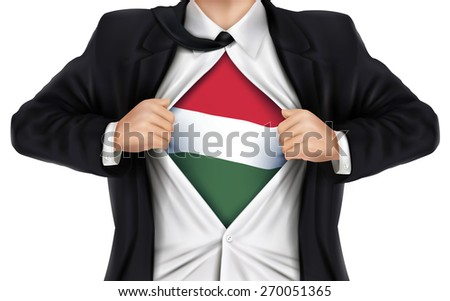 businessman showing Hungarian flag underneath his shirt over white background - stock photo