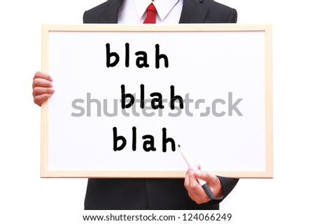 Businessman showing idea on white board with clipping path - stock photo