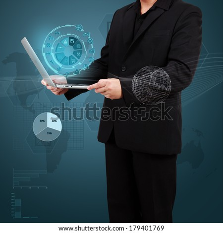 Businessman showing laptop with icon application on virtual screen. Concept of online business. - stock photo