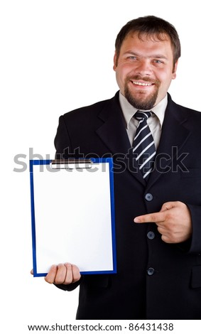 Businessman showing on clipboard, isolated on white background - stock photo
