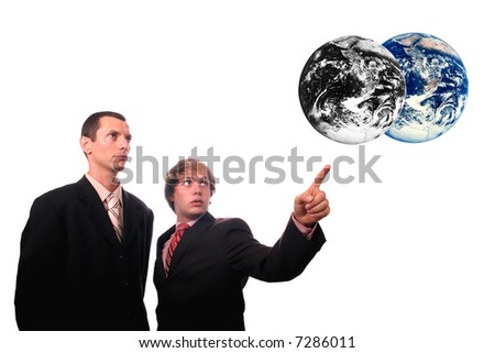 businessman showing results of polution on earth (enviromental concept) - stock photo