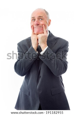 Businessman showing smiley face