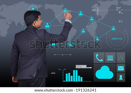 businessman showing social business connection
