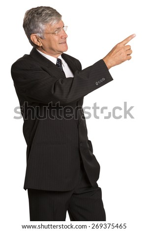 businessman showing something invisible