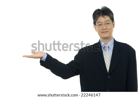 businessman showing something on the palm of hand