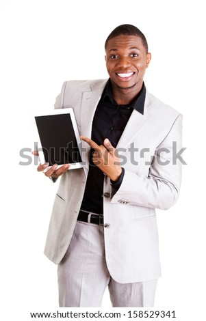 Businessman showing tablet computer