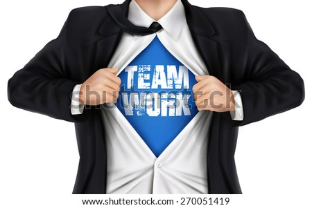 businessman showing Teamwork word underneath his shirt over white background - stock photo