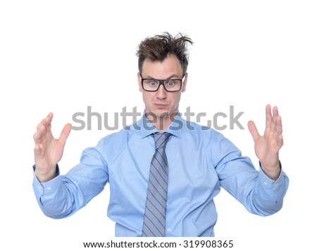 Businessman showing the big size of her hands, isolated on white background. Here's a size concept - stock photo