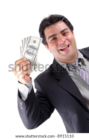 Businessman showing the currency money on white .
