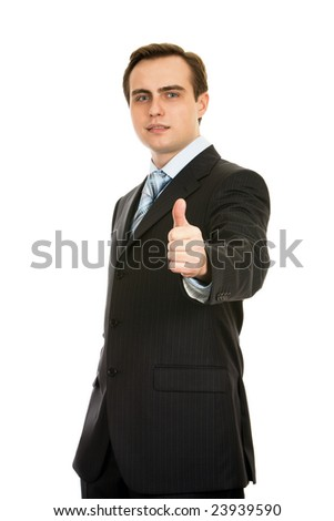 Businessman showing thumb-up. Isolated on white. - stock photo