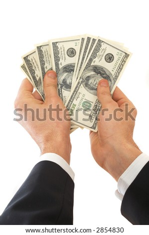 businessman showing Us dollars on white background