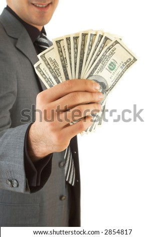 businessman showing Us dollars, space for messages