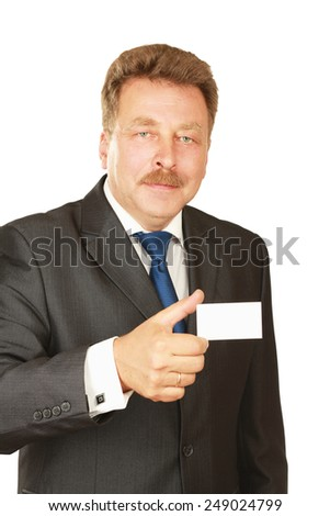 Businessman  shows business card  isolated on a white background - stock photo