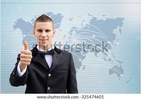 Businessman shows ok sign with hand