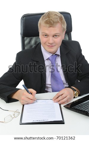 Businessman signs a contract. Isolated on white background