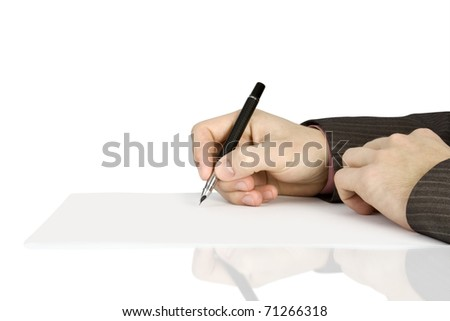 Businessman signs a contract Isolated on white background