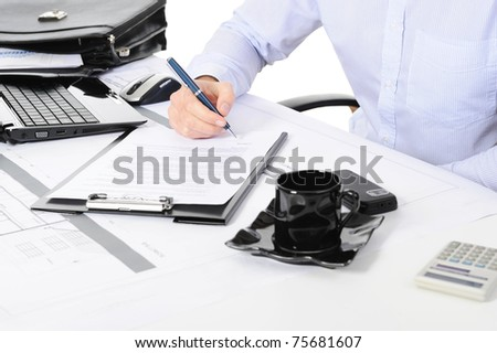 businessman signs a contract. Isolated on white background - stock photo