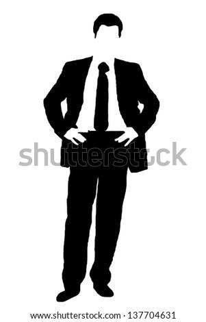 businessman silhouette - stock photo