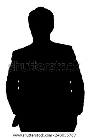 businessman silhouette isolated on white - stock photo