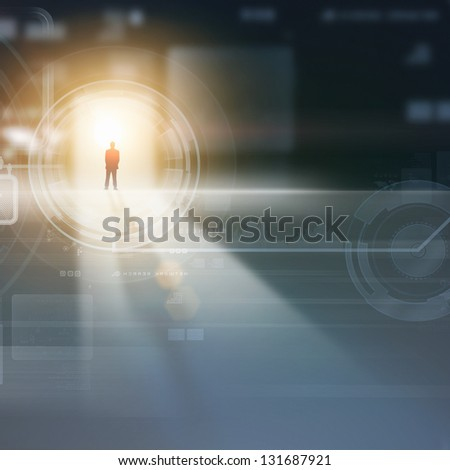 Businessman silhouette standing against media picture background - stock photo