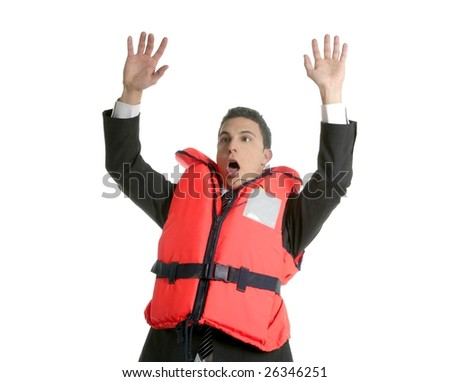 Businessman sinking in crisis, lifejacket metaphor isolated on white - stock photo