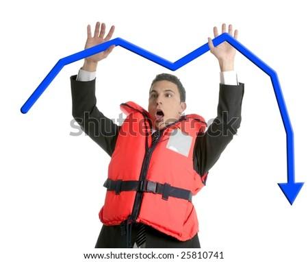 Businessman sinking in crisis, lifejacket metaphor isolated on white [Photo Illustration] - stock photo