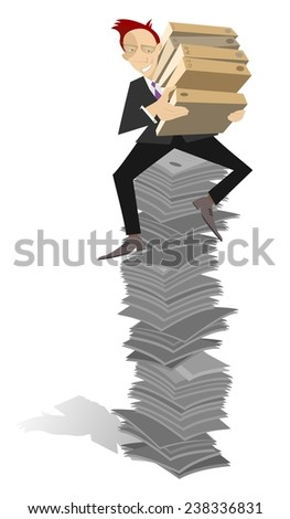 Businessman sits on the high pile of documents  - stock photo