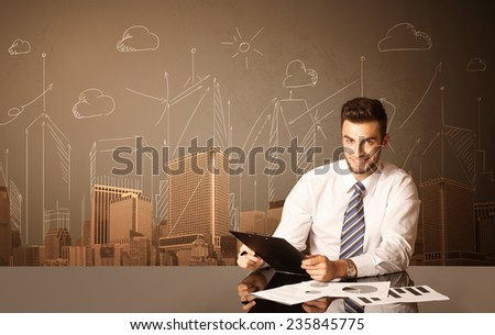 Businessman sitting at the black table with buildings and measurements on the background  - stock photo