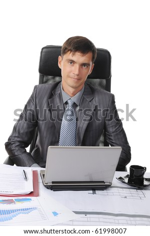 Businessman sitting before a laptop. Isolated on white background - stock photo
