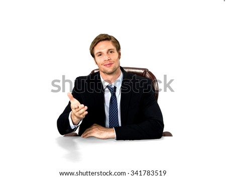 Businessman sitting down and extending his hand - Isolated - stock photo