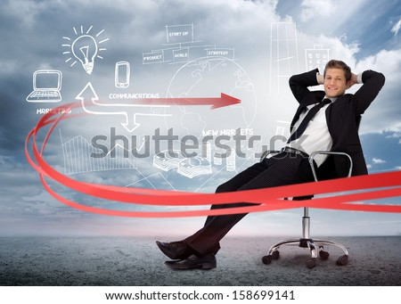 Businessman sitting in front of brainstorming drawings in cloudy landscape - stock photo