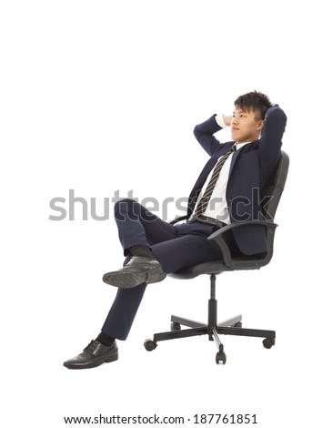 businessman sitting on a chair and thinking strategies  - stock photo