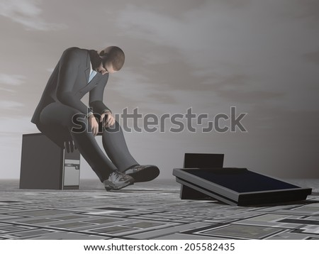 Businessman sitting on a computer looking exhausted in grey dark background - stock photo