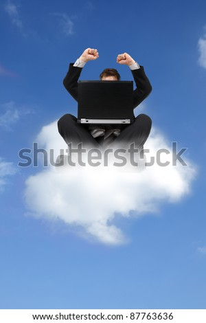 Businessman sitting on cloud with laptop computer concept for cloud computing or on cloud 9 - stock photo