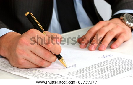 businessman sitting with documents sign up contract - stock photo