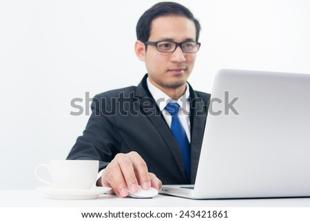 Businessman Sitting Working on Laptop with coffee on white background
