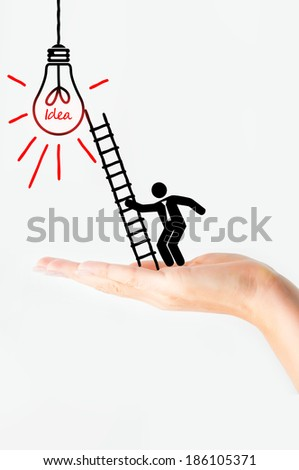 Businessman sketch climbing success ladder concept - stock photo