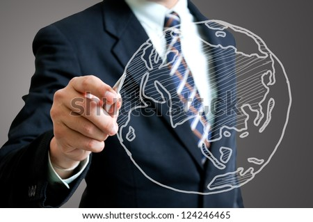 Businessman sketch global - stock photo