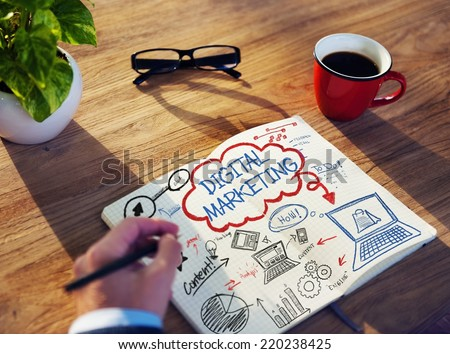 Businessman Sketching About Digital Marketing Concept - stock photo