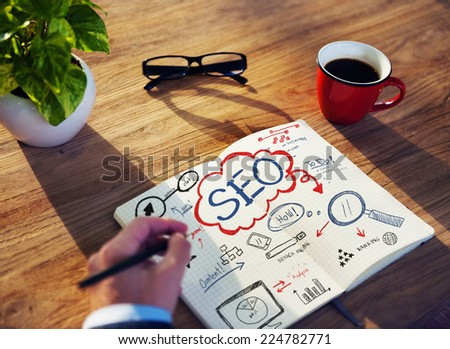 Businessman Sketching About SEO Concept - stock photo