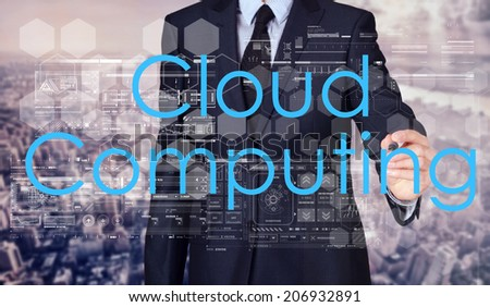 Businessman sketching and writing Cloud Computing with nice business city background in retro colors.  - stock photo
